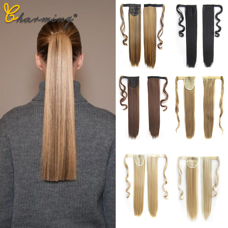 CHARMING 24' Long Straight Clip In Hair Tail False Hair Ponytail Hairpiece With Hairpins Synthetic Hair Pony Tail Hair Extension