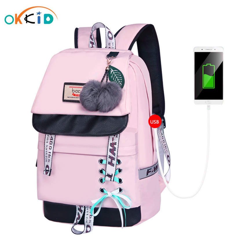 OKKID Children School Bags For Girls Cute Pink Backpack Schoolbag Korean Style Bowknot Fur Ball Girl School Backpack Bookbag