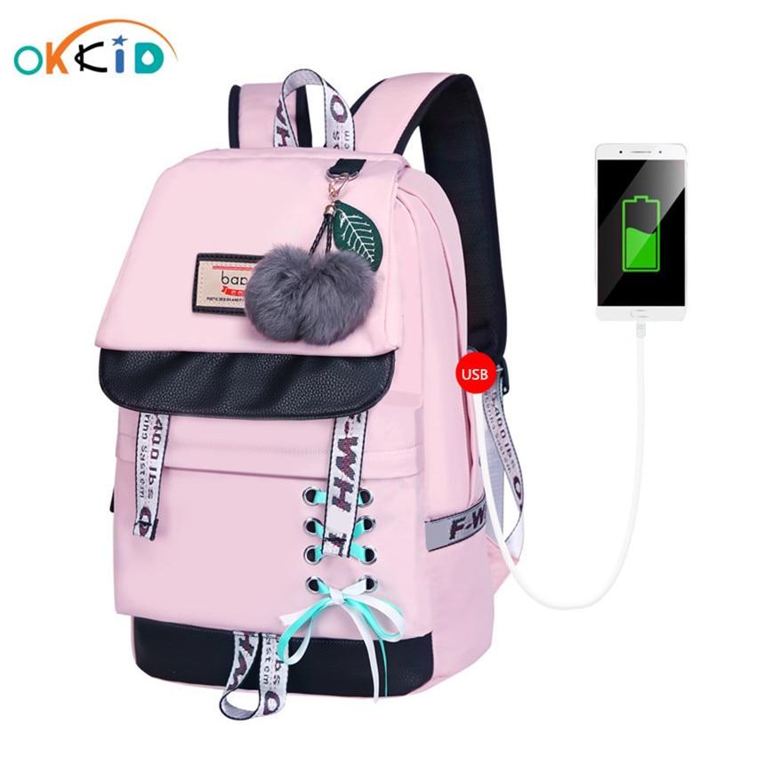 OKKID Children School Bags For Girls Cute Pink Backpack Schoolbag Korean Style Bowknot Fur Ball Girl School Backpack Bookbag