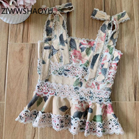 ZIWWSHAOYU Designer Women Summer Sexy Backless Bow Strap Tops Ladies Embroidery Ruffles Floral Print Linen Camis Vest