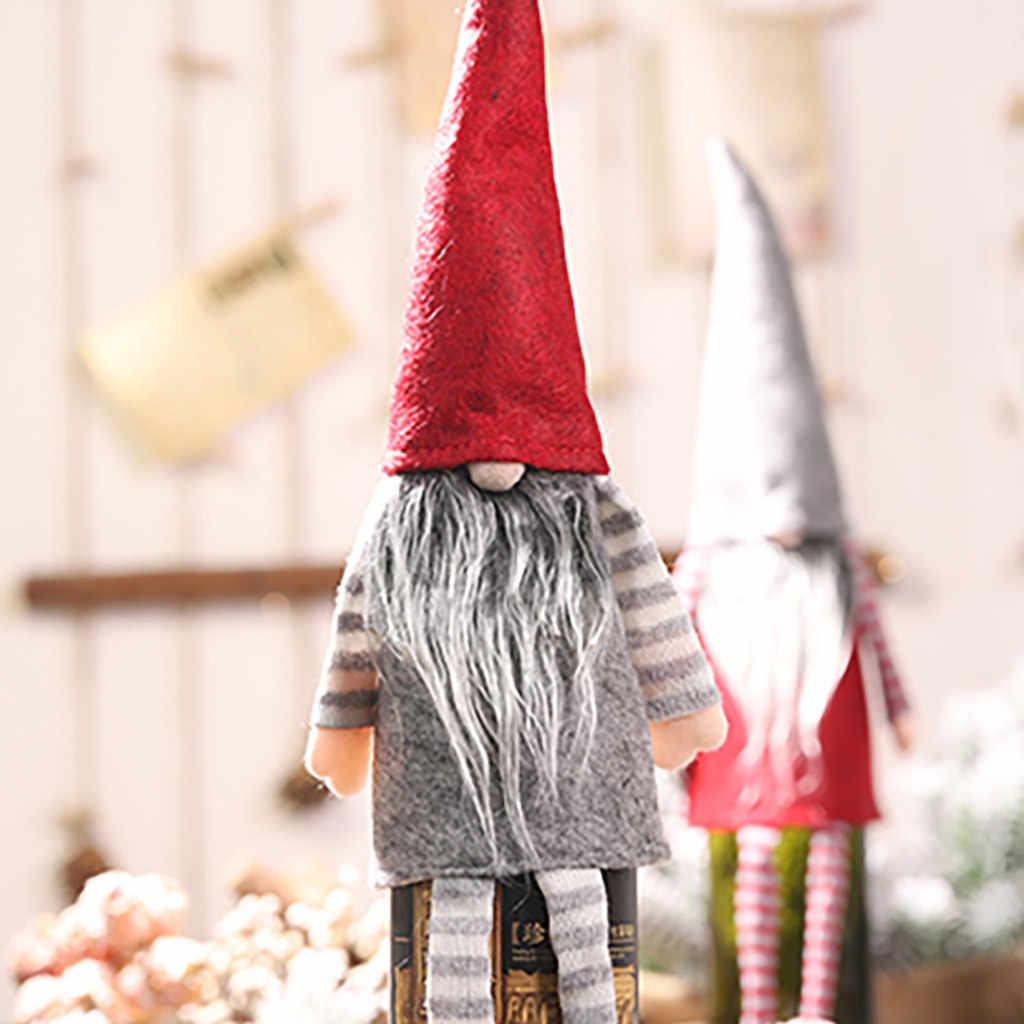 Рождественская Крышка для бутылки шампанского, украшение, кукла без лица, висячая ножка, рождественские украшения для дома, Navidad 2019, подарок