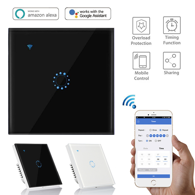 Touch Switch Smart Switch Panel Wall Switch 1Gang WIFI Light Switch EU Standard Work With Alexa Google Home