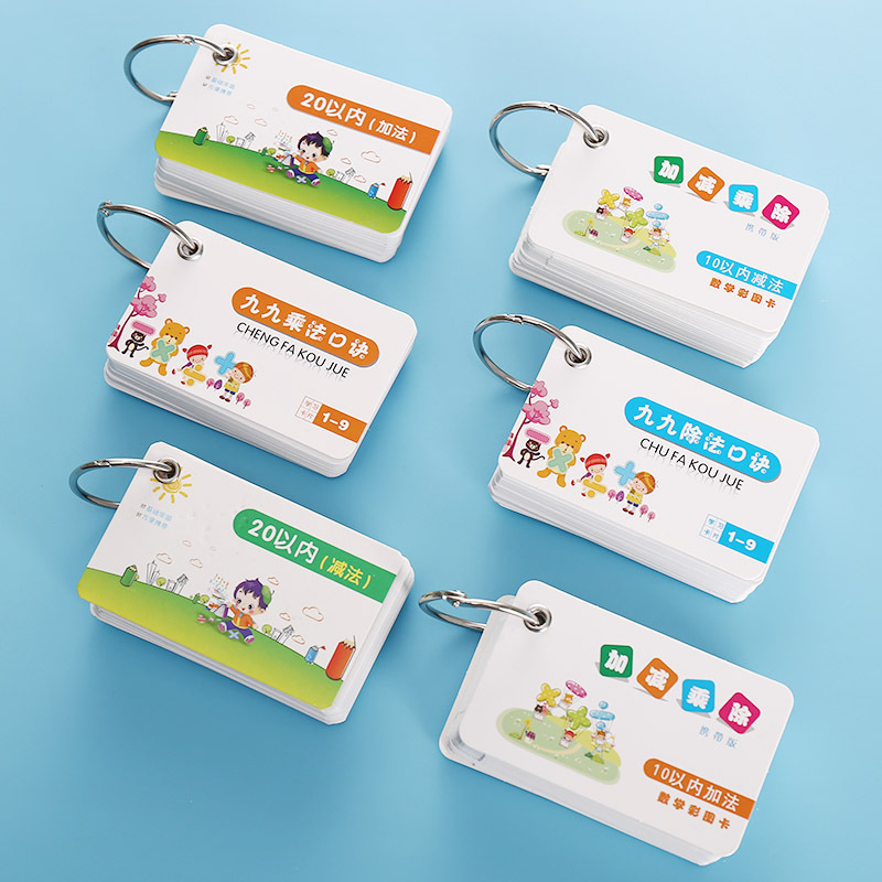 6pcs/set Early Childhood Mathematics Learning Cards Early Education Kids Multiplication Formulas Addition And Subtraction