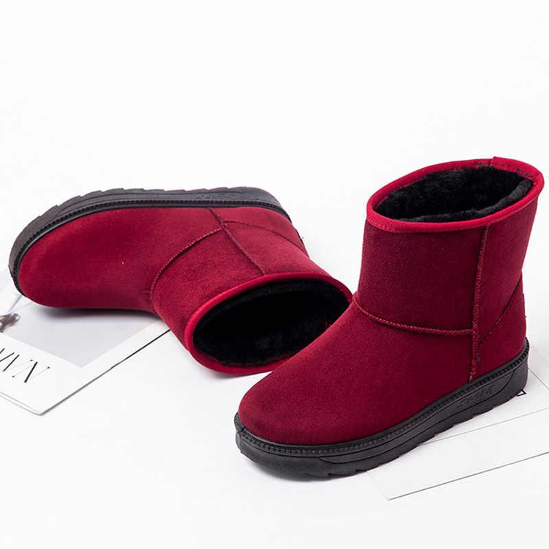 Phụ Nữ Mắt Cá Chân Giày Lông Ấm Áp Ủng Nữ Slip On Nữ Mùa Đông Giày Bốt Nữ Da Lộn Nữ Mùa Thu Giày Thời Trang Màu Đỏ giày