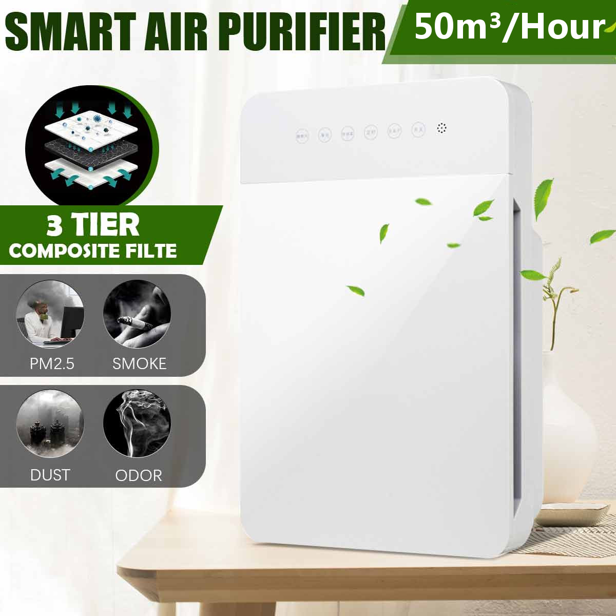 220V 50HZ Air Purifier Negative Ion PM2.5 Dust Home Indoor Purifier Smoke Remove Formaldehyde Cleaning Odor Removal Home Filter
