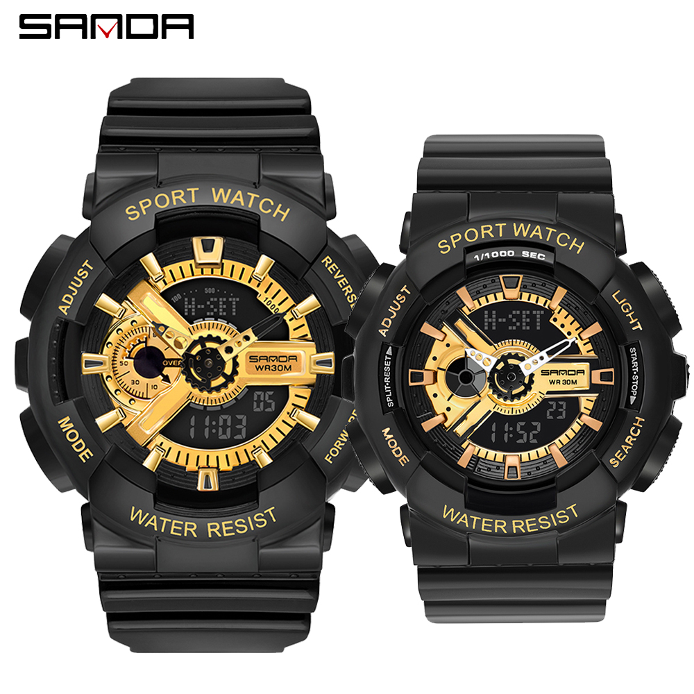 SANDA Men Sports Watches Dual Display Analog Digital LED Electronic Quartz Couples Lover Wristwatches Waterproof Military Watch