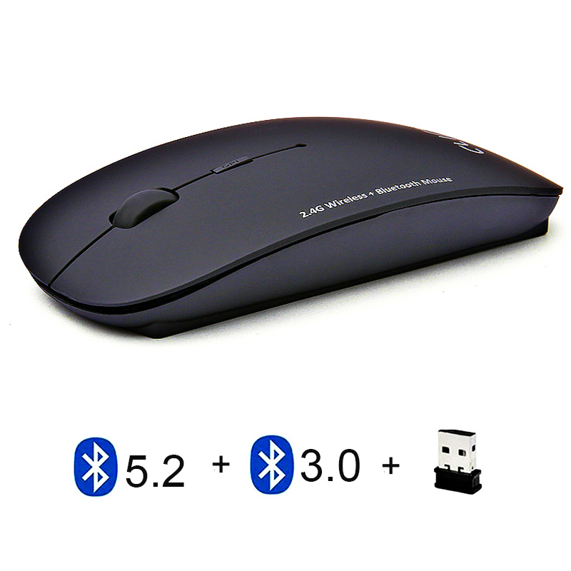 2.4G Dual Mode 2 in 1 Charging Slim Silent Click Mouse 1600 DPI Ultra-thin Ergonomic Portable Optical Mice Rechargeable Bluetooth Wireless 4.0