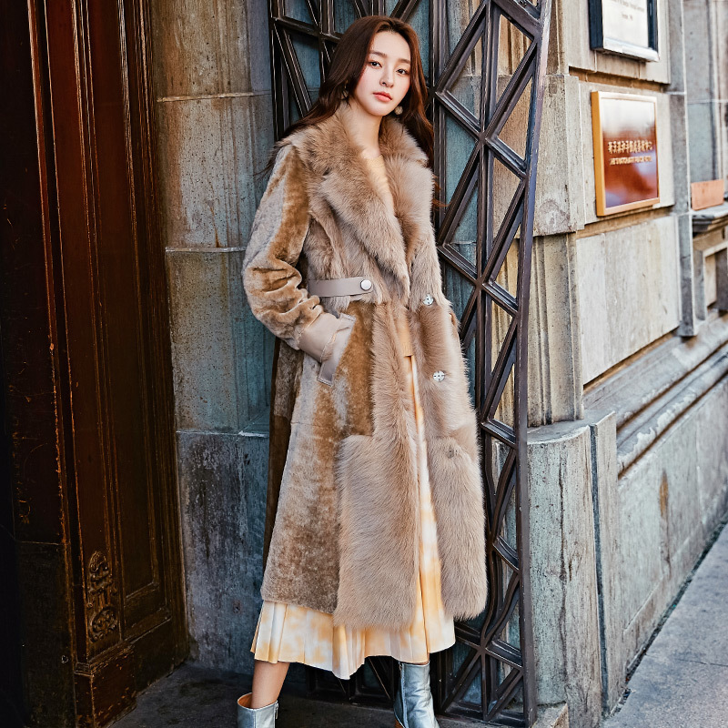 Natural Real Fur Coat Female Vintage 100% Wool Jacket Winter Coat Women Clothes 2020 Korean Long Warm Double-faced Fur Top 19067