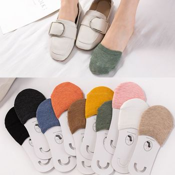10 Colors Woman Summer Forefoot Socks Thin Cotton Sweat Socks Non-Slip Slippers High Heels Invisible Half Foot Socks image