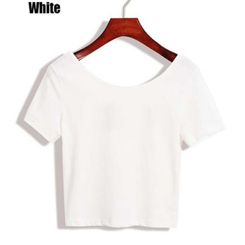 2020 New Women T-shirts Casual Sexy Tops Tee Summer Female T shirt Short Sleeve T shirt For Women Clothing dropshipping - White, L