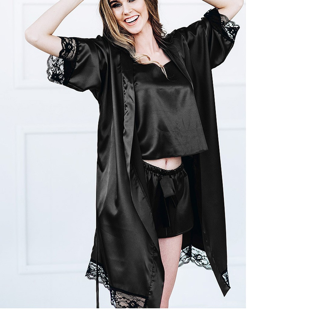 Hot Fashion Women Sexy Black Silk Satin Kimono Robe Lace Lingerie Bodydoll Sleepwear Camisola De Dormir Feminino Dressing Gown