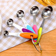 5PCs/Set Stainless Steel Measuring Handle Spoon For Kids Kitchen Tools Fork Case Children Baby Tableware Dinnerware