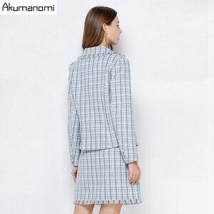Image 3 - Ekose 2 parça Set kadın sonbahar mavi artı boyutu 5xl 4xl 3xl tam kollu cep püskül üstleri Mini etek iki parça kıyafetler eşofman