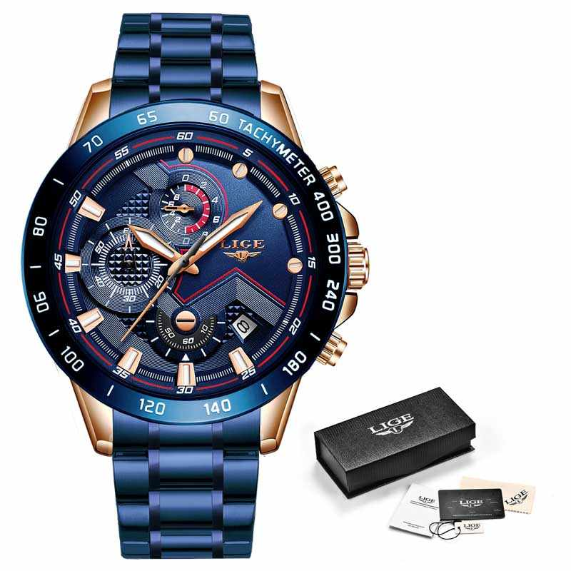 Relojes LIGE 2020 de moda para hombres, reloj de pulsera de lujo, reloj de cuarzo, reloj azul, reloj cronógrafo impermeable para hombres, reloj Masculino