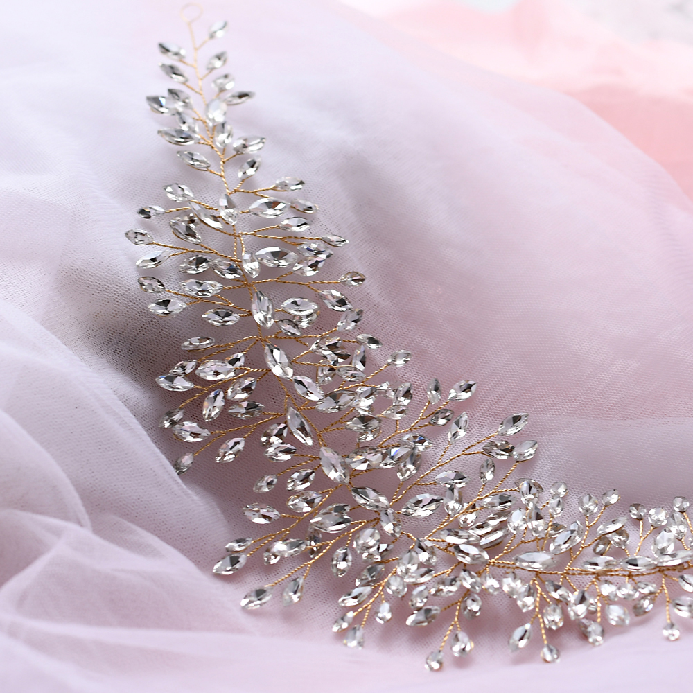 Купить с кэшбэком TRiXY H237-G Gold Wedding Hair Accessories Crystal Hair Piece Wedding Bridal Hair Ornaments Hair Jewelry Bride Headdress