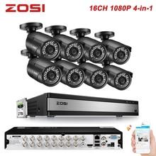 ZOSI 1080P 2MP 4-in-1 16CH CCTV System TVI CVI AHD CVBS DVR Kit Bullet Waterproof Video IR Filter Nightvision Outdoor Camera