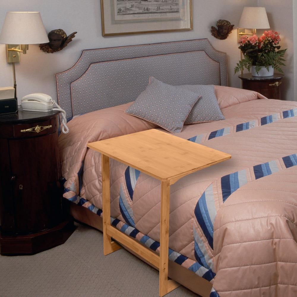 60x40x65cm en forme de L bambou canapé Table d'appoint sandale couleur bois côté ordinateur portable devoirs bureau paresseux Table pour la lecture - 6