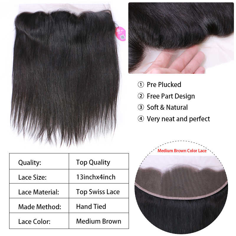 Koningin Haar Producten Braziliaanse Virgin Rechte 13X4 Transparant Kant Frontale Sluiting 100% Human Hair Medium Brown Swiss Lace