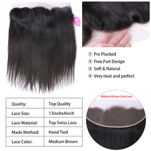 Image 3 - Queen Hair Products Brazilian Virgin Straight 13x4 Transparent Lace Frontal Closure 100% Human Hair Medium Brown Swiss Lace