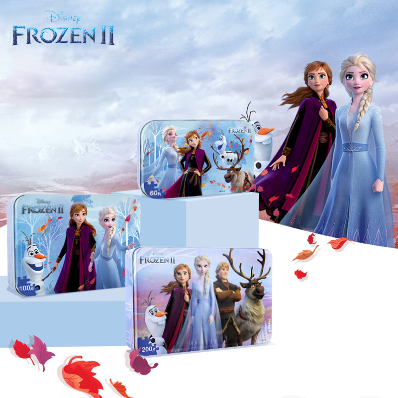 Disney Frozen 2 Iron Box Wooden Puzzle 10 Color Kids Early Learning 60 Pieces 100 200 Pcs Plane Puzzles For Children Safety Toys