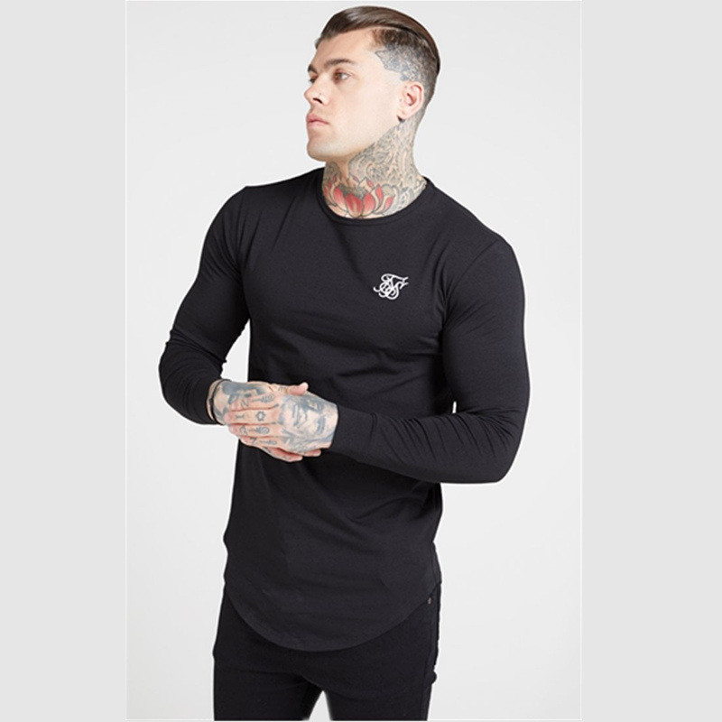 YEMEKE Fitness Workout Siksilk Brand Fashion Clothing Male Casual Sports Tee Tops New Muscle Men Cotton Gyms Long Sleeved Shirts