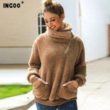 Зимний флисовый толстый теплый Свитшот ingoo 2019 женские повседневные