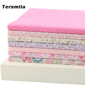 Teramila 7 Pcs/Lot Light Pink Dots and Flowers Design Patchwork 100% Cotton Fabric Tissue Scrapbooking for Sewing DIY Patches