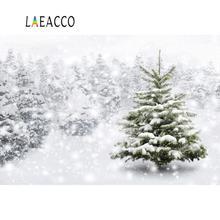 Laeacco Photo Background Winter Snow Snowflake Pine Tree Dreamy World Baby Scenic Photography Backdrops Studio Photocall