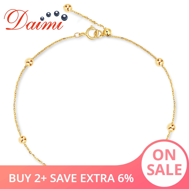 DAIMI Pure Gold Bracelet Satellite Chain 18K Yellow Gold Beads Chain Adjustable 18cm Bracelet Chain Jewelry Gift