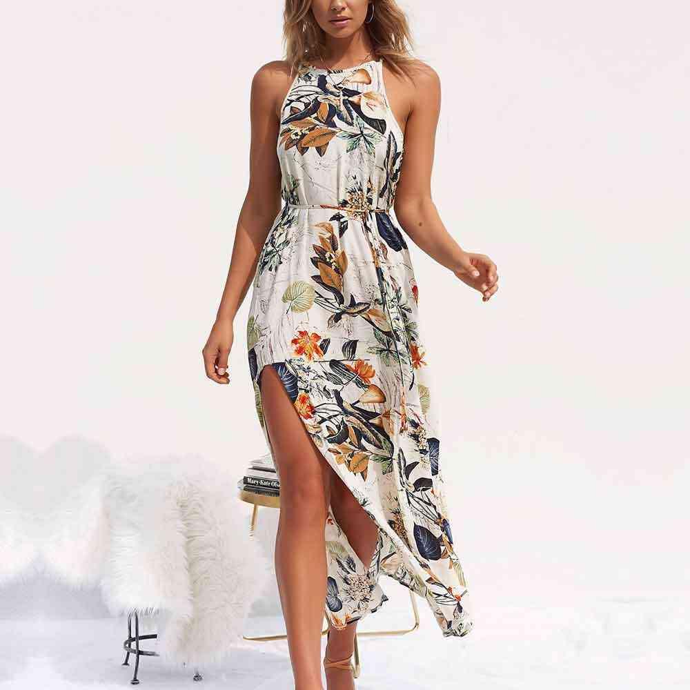 NEDEINS נשים V צוואר פיצול שמלה פרחוני הדפסת ארוך קיץ ספגטי רצועת מפלגה ורוד שיפון אלגנטי מקרית מקסי שמלות החוף