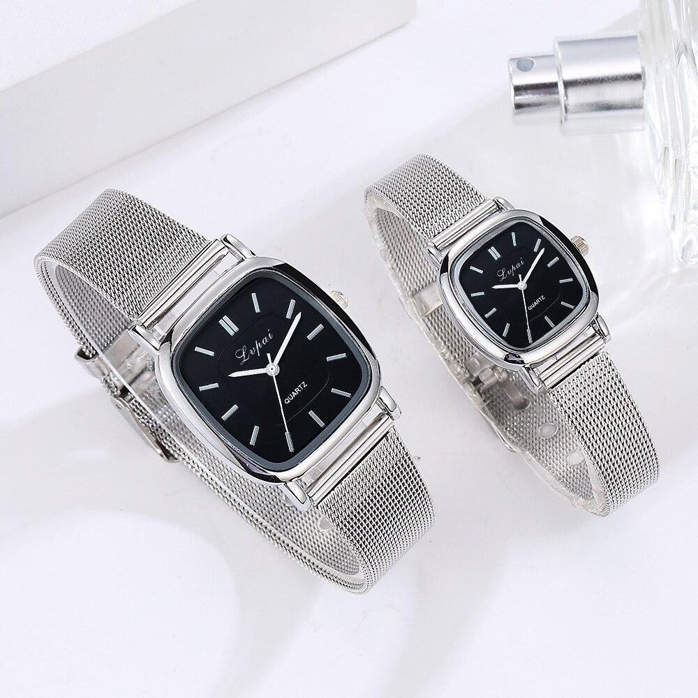 2019 Fashion Couple Watches Lovers Hot Selling Quartz Analog Mesh Band Wrist Watch Student Watch Women & Men Wristwatch Dropship