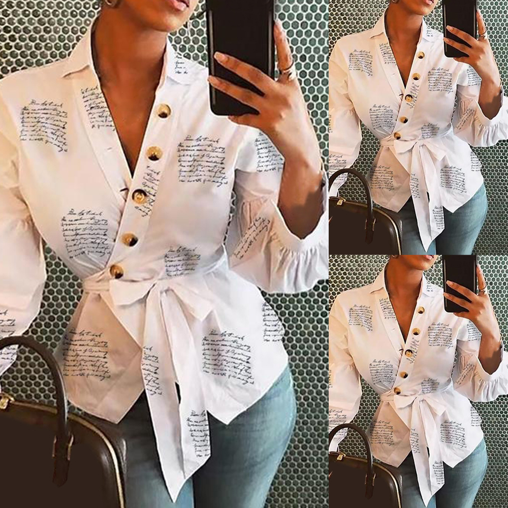 2020 New Women Blouse Shirts Female Clothing Lantern Sleeve Print Women Office Shirt Feminine Blouses Button Ladies Tops