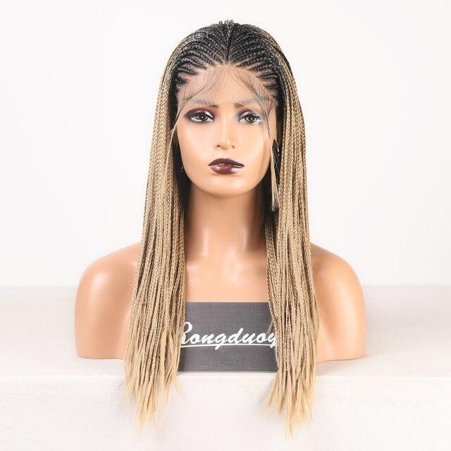RONGDUOYI-perruque Lace Front Wig en Fiber longue, cheveux noirs, perruque avec raie latérale tressée en boîte pour femmes