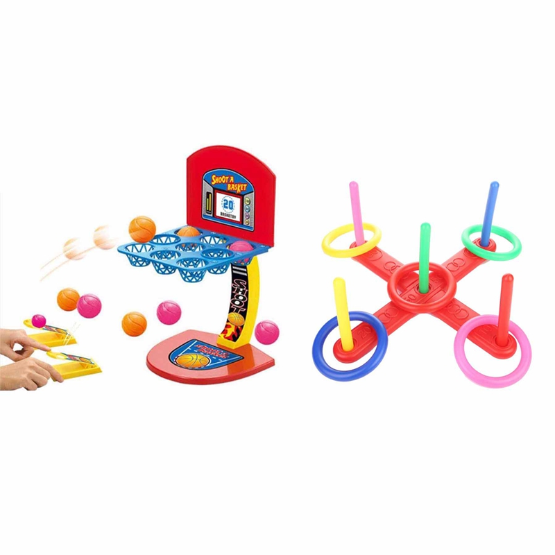 1 Set Ring Toss Game Quoits Hoopla Set Quoits Pegs Rope Target Kids Garden Party & 1 Set Kid'S Desktop Game Mini Shooting Basket