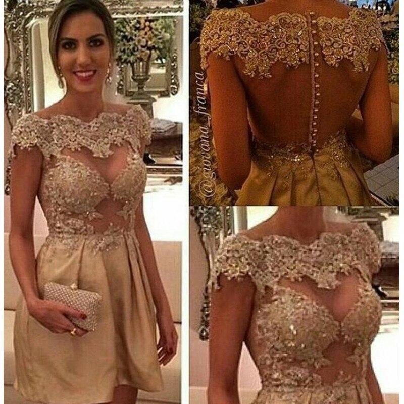 Cocktail Dresses  Gold Plus Size Short Evening Prom Dress 2019