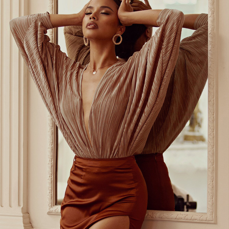 Deep V-Neck Patchwork Sexy Party Bodysuit Women Fashion Long Sleeve Loose Women Rompers Spring Casual Bodysuit Jumpsuit 2020