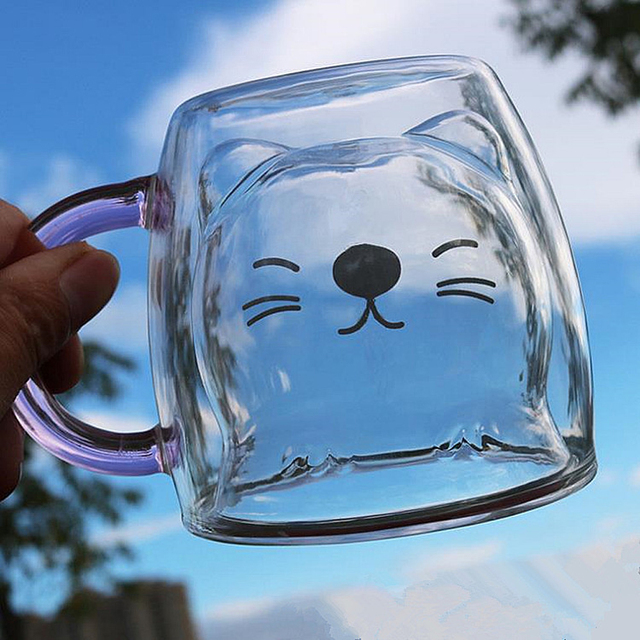 Cute Mugs Glasses Double Wall Insulated Glasses EspressoCup CoffeeCup TeaCup,