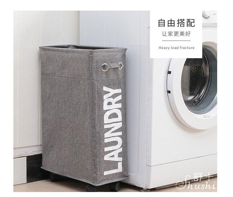 criativa cesta de lavanderia dobrável com rodas
