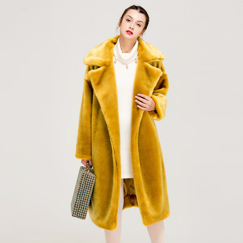 Women Faux Fur Coat 2019 Autumn And Winter Fashion Thick Luxury Long Warm Female Overcoat Casual Fluffy Jacket Black Fur Coats