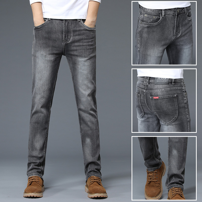 Europe And America Autumn Tide Brand Grey Jeans Men Slim Fit Straight-Cut Elasticity Youth Business Simple Washing Long Pants