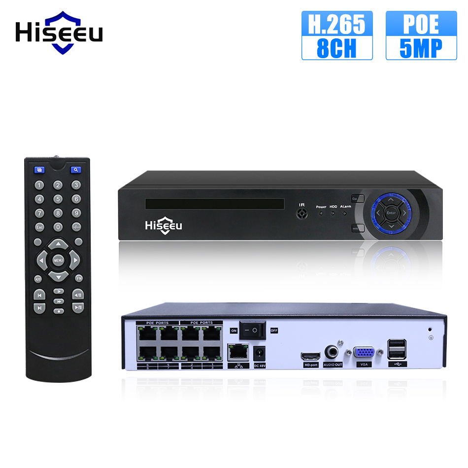 Hiseeu H.265 H.264 4/8CH POE NVR Security IP Camera video Surveillance CCTV System P2P ONVIF 2MP/5MP Network Video Recorder