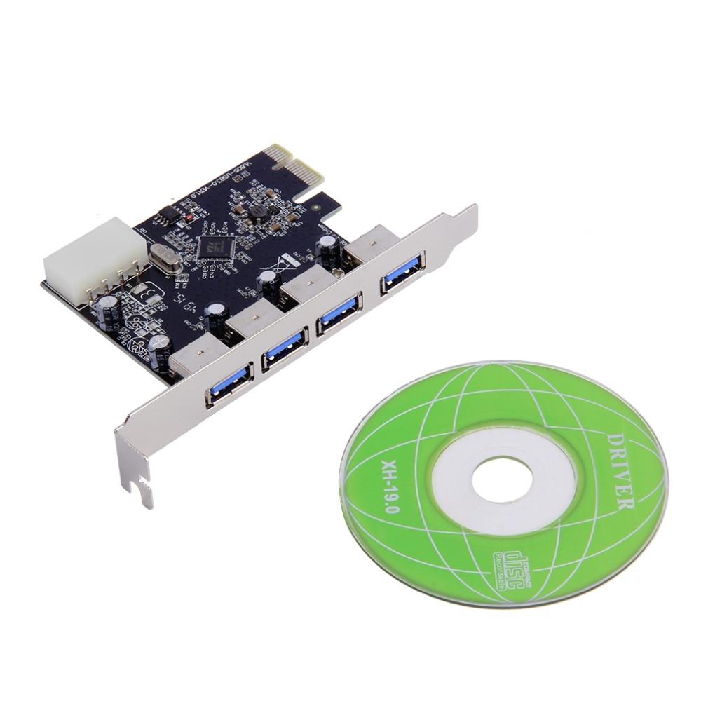 Carte d'extension 4 ports USB 3.0 PCI-e adaptateur hub PCI express PCIe USB 3.0 contrôleur 4 ports USB3.0 USB 3 0 PCI e PCIe express