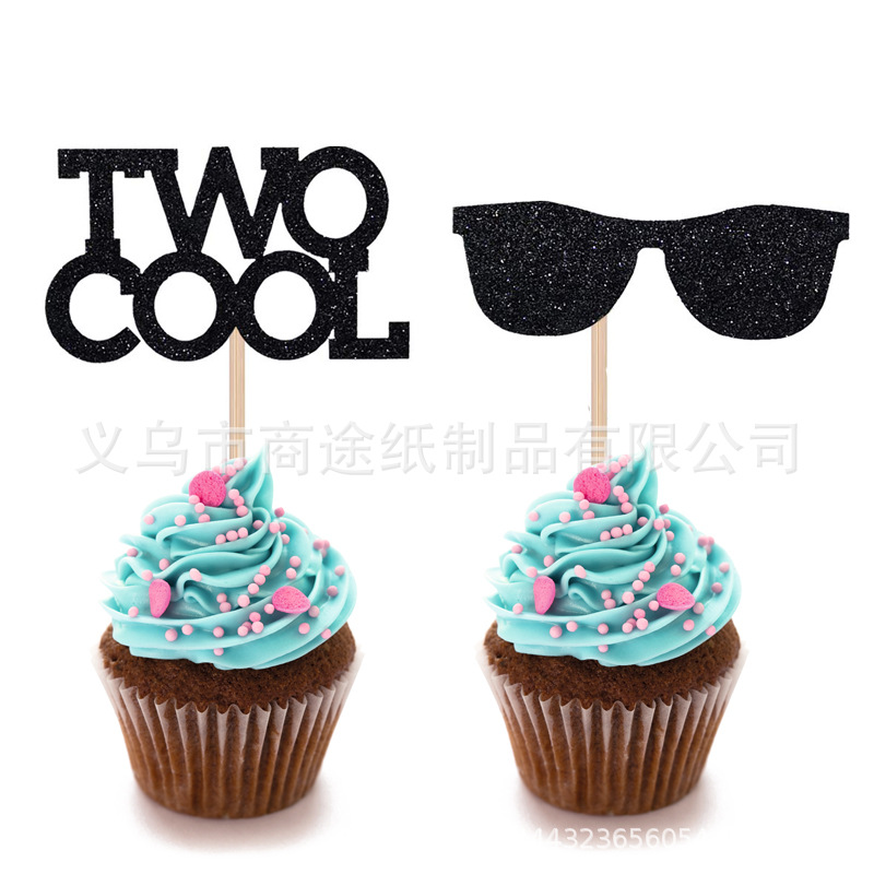 Creative Two Cool Sun Glasses Cake Inserting Card Two Cool Boy Birthday Party Paper Cups Cake Flag