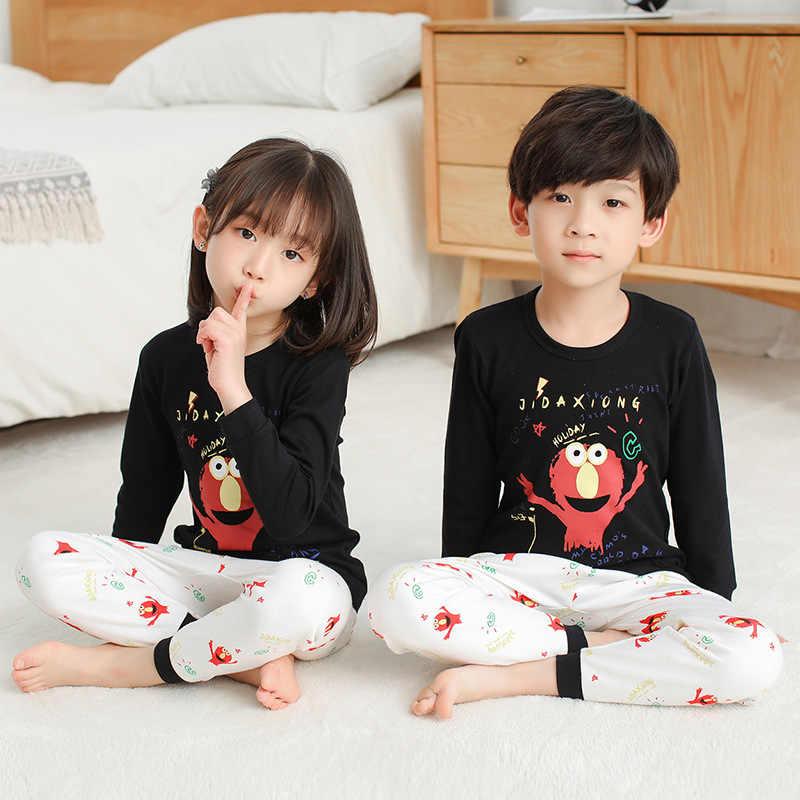 ملابس الفتيات لخريف وشتاء 2019 طقم بيجامات للأطفال مطبوع عليها رسوم كارتونية بيجامات للأولاد ملابس منزلية للأطفال ملابس نوم للأولاد والبنات