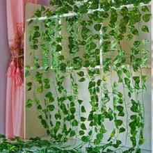 2.1m plantas artificiais longas folhas de hera verde videira artificial falso parthenocissus folhagem folhas casa barra de casamento plantas penduradas