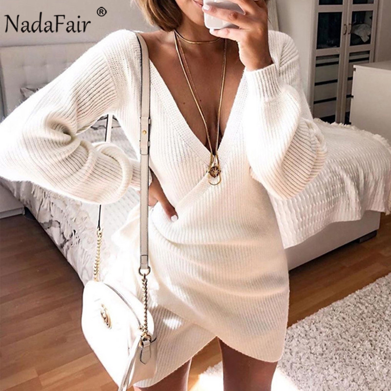 Nadafair V Neck Tunic White Sweater Dress Autumn Long Sleeve Lace Up Wrap Casual Mini Knitted Winter Dress Women