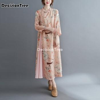 2021 chińska sukienka tradycyjna sukienka z nadrukiem qipao panie suknie wieczorowe w stylu vintage cheongsam kobiety długa lniana suknia w stylu qipao tanie i dobre opinie DecisionTree COTTON Poliester CN (pochodzenie) Suknem