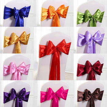 цена на Wedding Satin Chair Sashes Party Chairs Bands Gold Pink Chair Knot Cover Decoration Chairs Bow For Chair Decoration Banquet