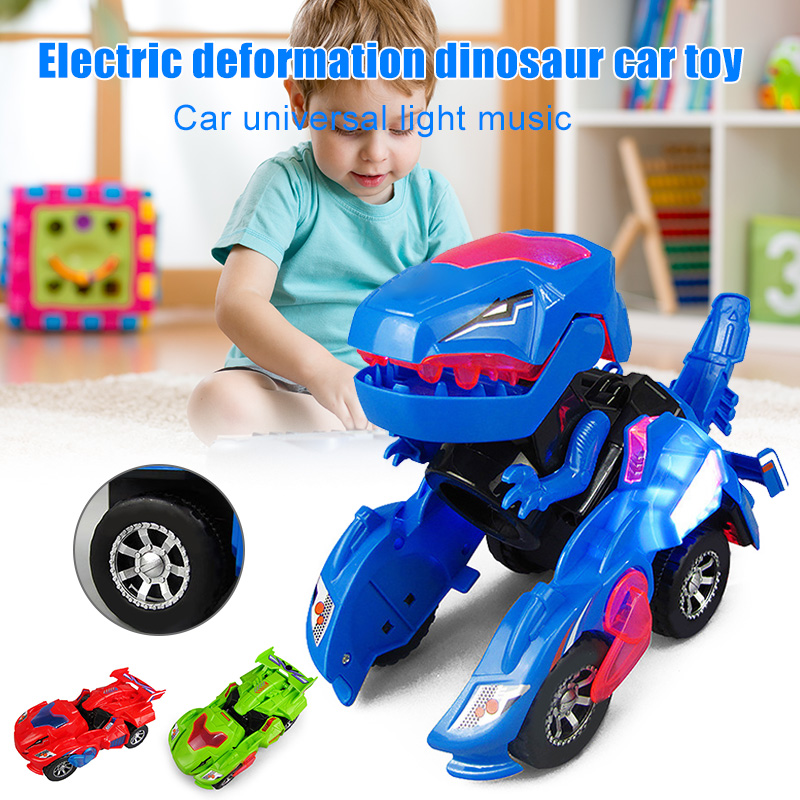 Deformation LED Car Kids Dinosaur Toys Play Vehicles With Light Flashing Music Hot Sales