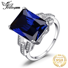 JewelryPalace Luxury Emerald Cut 9.6ct Created Blue Sapphire Cocktail Ring 925 Sterling Silver for Fashion Women On Sale